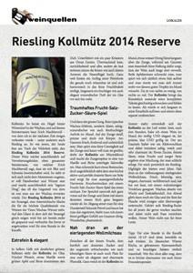 Riesling Kollmütz 2014 Reserve, von Leo Quarda